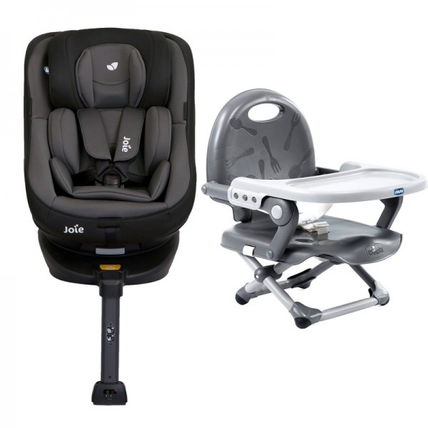 Joie Spin 360 Group 0+/1 Isofix Car Seat with Chicco Pocket Snack Booster Seat Bundle - Ember / Dark Grey