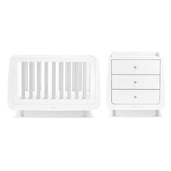 Snuz SnuzKot Mode 3 Piece Cot Bed Nursery Furniture Room Set with Dresser - Grey
