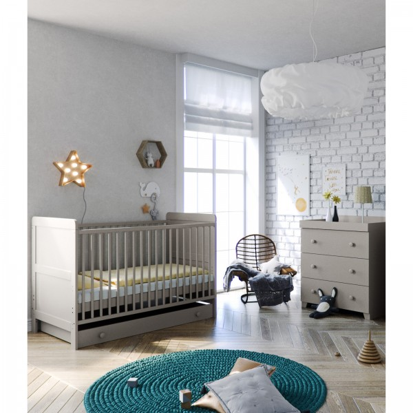 Little Acorns Classic Milano Cot Bed 5 Piece Nursery Furniture Set with Deluxe Cot Bed + Drawer + Dresser + Foam Mattress - Light Grey