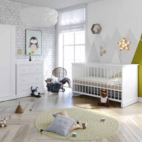 Ex Display Little Acorns Luxury Sophia 4 Piece Nursery Furniture Set - Cot Bed With Deluxe 5inch Maxi Air Cool Mattress & Dresser - White