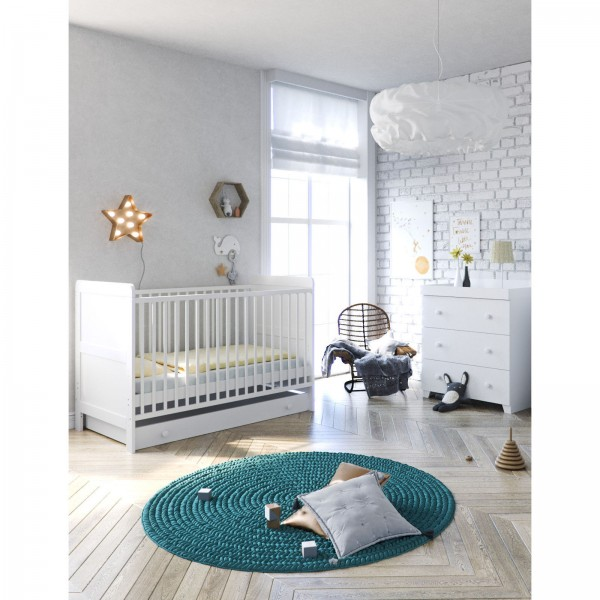 Little Acorns Classic Milano Cot Bed 4 Piece Nursery Furniture Set with Deluxe Cot Bed + Dresser + Foam Mattress - White