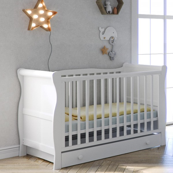 Little Acorns Sleigh Cot Bed With Deluxe Foam Mattress & Drawer - White