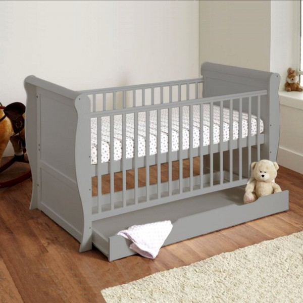 4Baby Sleigh Deluxe Cot Bed & Drawer - Grey