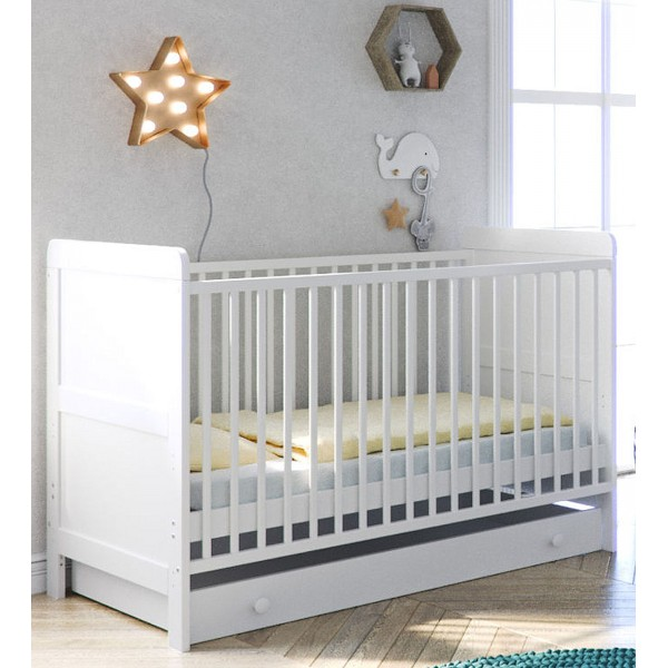 Little Acorns Classic Milano Cot Bed and Drawer - White