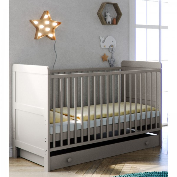 Little Acorns Classic Milano Cot Bed and Drawer - Light Grey