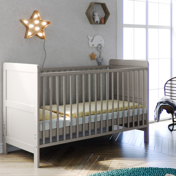 Little Acorns Classic Milano Cot Bed - Light Grey