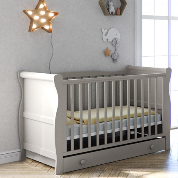Little Acorns Sleigh Cot With Deluxe Foam Mattress & Drawer - Grey