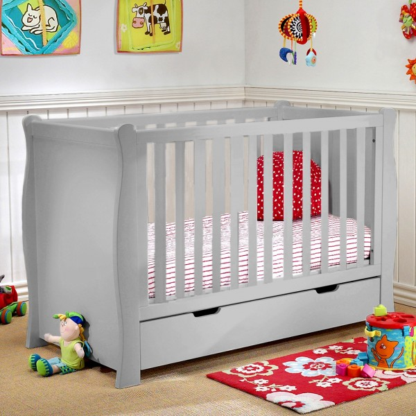 Puggle Sleigh Cot With Drawer & Foam Mattress - Warm Grey