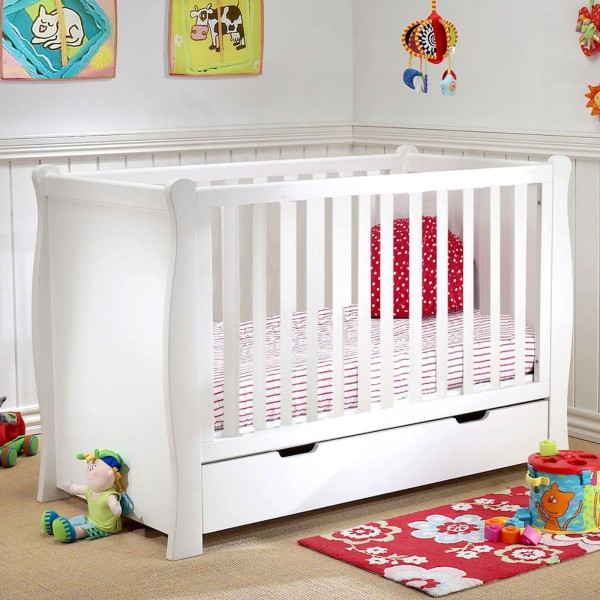 Puggle Sleigh Cot With Drawer & Foam Mattress - White