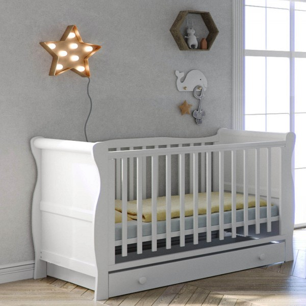 Little Acorns Sleigh Cot With Deluxe Foam Mattress & Drawer - White