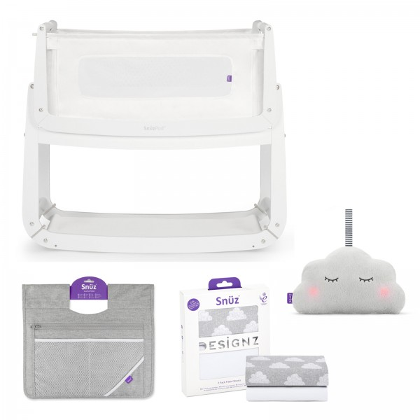 Snuz SnuzPod3 4 Piece Bedside Crib Bundle - White