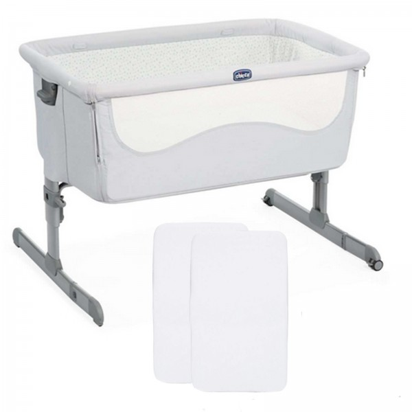 Chicco Next2Me Bedside Crib With 2 Fitted Sheets - Light Grey
