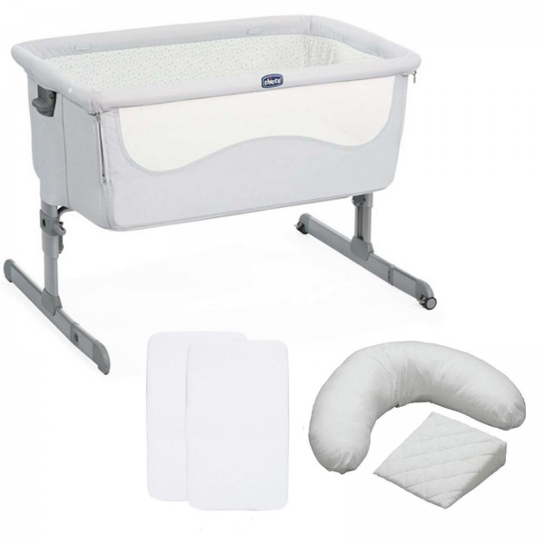 Chicco Next2me Bedside Crib 5 Piece Nursery Bundle With x2 Sheets & Pillow Pack - Light Grey