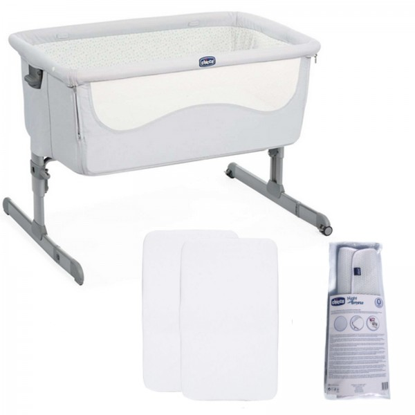 Chicco 4 Piece Next2Me Bedside Crib Bundle - Light Grey