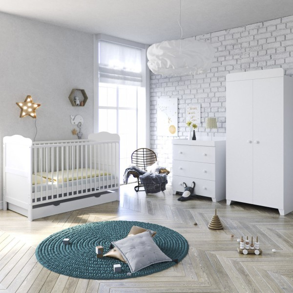4Baby Little Acorns Classic Cot Bed 6pc Nursery Furniture Set With Deluxe Cot + Drawer + Dresser + Wardrobe + Foam Mattress - White