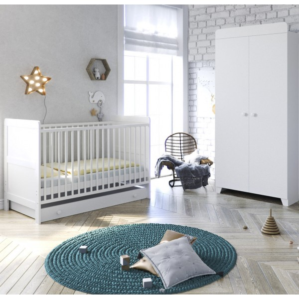 Little Acorns Classic Milano Cot Bed 4 Piece Nursery Furniture Set with Deluxe Cot Bed + Drawer + Wardrobe + Foam Mattress - White